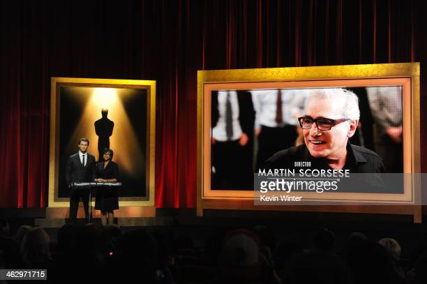 Chris Hemsworth and Academy President Cheryl Boone Isaacs announce Martin Scorsese as a nominee for Best Director for the film 'The Wolf of Wall...