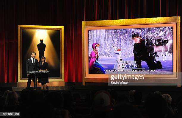 Chris Hemsworth and Academy President Cheryl Boone Isaacs announce 'Frozen' as a nominee for Best Animated Feature Film at the 86th Academy Awards...