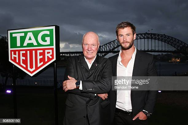 Chris Hemsworth and CEO of Tag Heuer JeanClaude Biver pose at the Australian launch of Heuer 01 at The Royal Botanic Gardens on February 4 2016 in...
