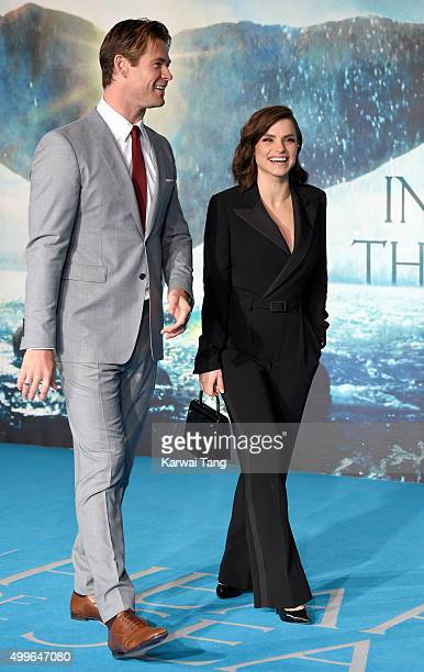Chris Hemsworth and Charlotte Riley attend the European Premiere of 'In The Heart Of The Sea' at Empire Leicester Square on December 2 2015 in London...