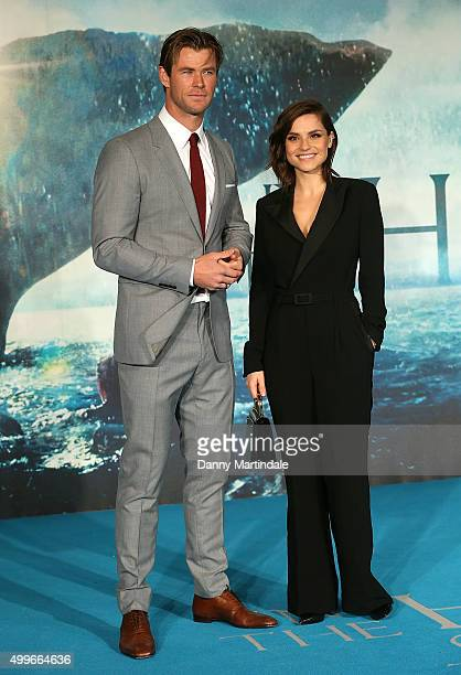 Chris Hemsworth and Charlotte Riley attends the UK Film Premiere of In the Heart of the Sea at Empire Leicester Square on December 2 2015 in London...