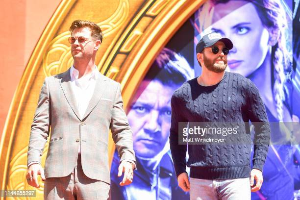 Chris Hemsworth and Chris Evans pose at the Marvel Studios' 'Avengers: Endgame' Cast Place Their Hand Prints In Cement At TCL Chinese Theatre IMAX...
