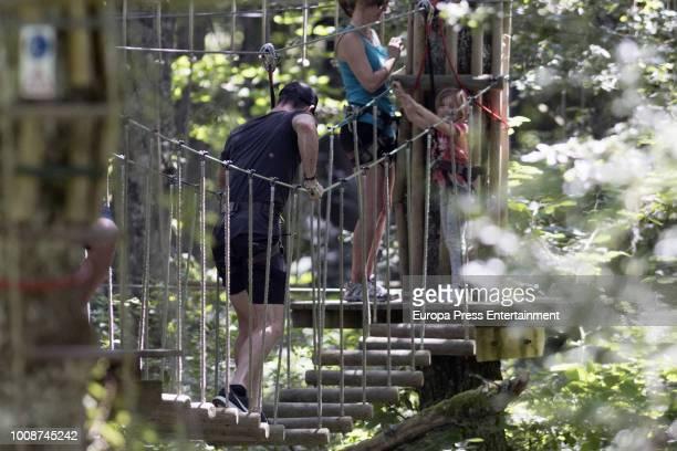 Chris Hemsworth and daughter are seen on July 30, 2018 in San Sebastian, Spain.