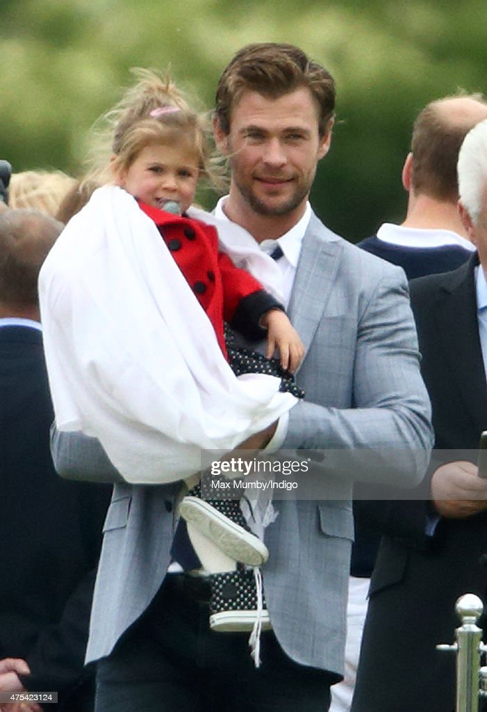 Chris Hemsworth and daughter India Rose Hemsworth attend day 2 of the Audi Polo Challenge at Coworth Park on May 31, 2015 in Ascot, England.