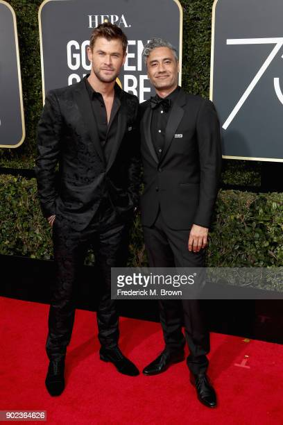 Chris Hemsworth and director Taika Waititi attend The 75th Annual Golden Globe Awards at The Beverly Hilton Hotel on January 7 2018 in Beverly Hills...