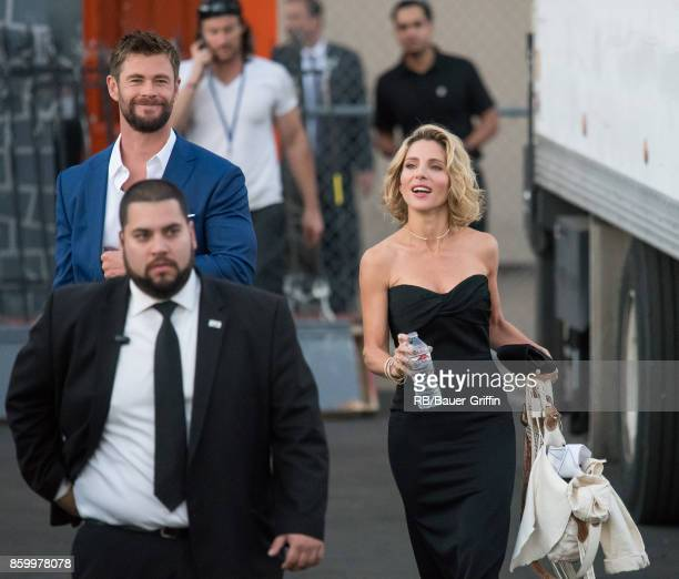 Chris Hemsworth and Elsa Pataky are seen at 'Jimmy Kimmel Live' on October 10 2017 in Los Angeles California