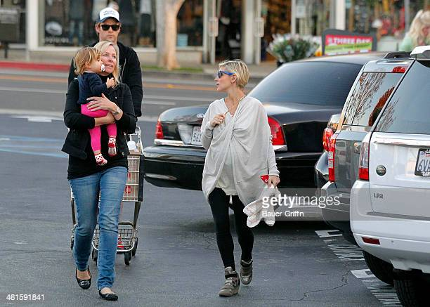 Chris Hemsworth and Elsa Pataky are seen shopping at Whole Foods Market with his mother Leonie Hemsworth and their daughter India Rose Hemsworth on...