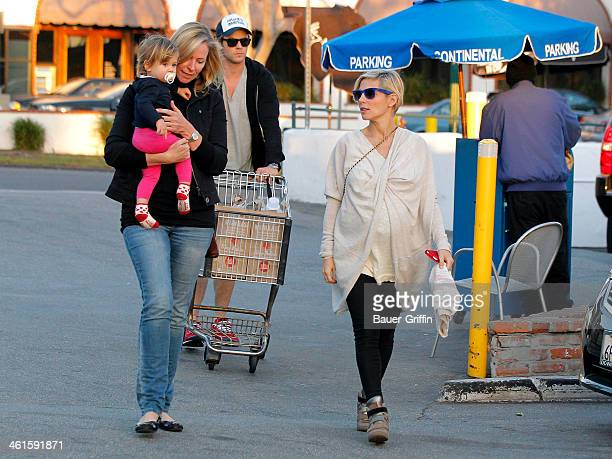 Chris Hemsworth and Elsa Pataky are seen shopping at Whole Foods Market with his mother, Leonie Hemsworth, and their daughter, India Rose Hemsworth...