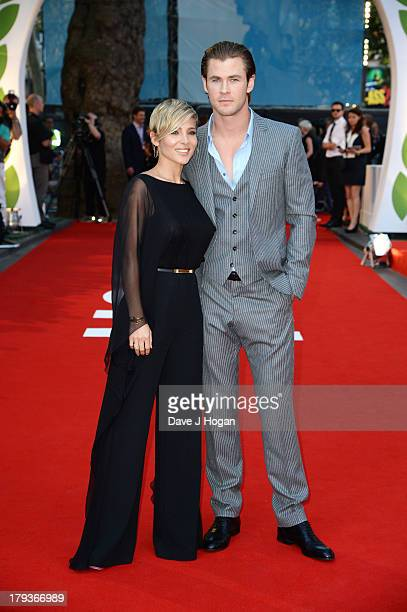 Chris Hemsworth and Elsa Pataky attend the Rush world premiere at The Odeon Leicester Square on September 2 2013 in London England