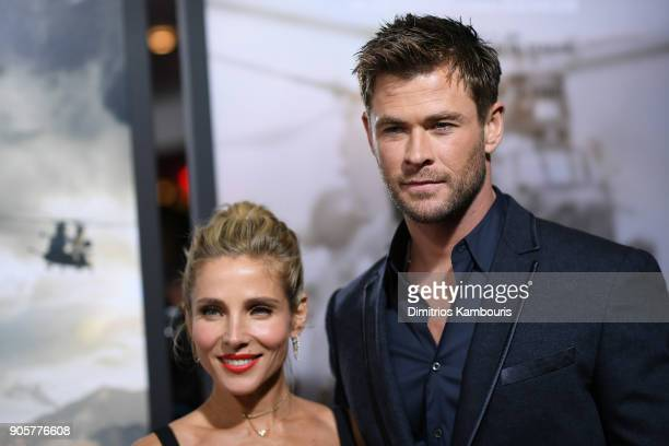 Chris Hemsworth and Elsa Pataky attend the world premiere of '12 Strong' at Jazz at Lincoln Center on January 16 2018 in New York City