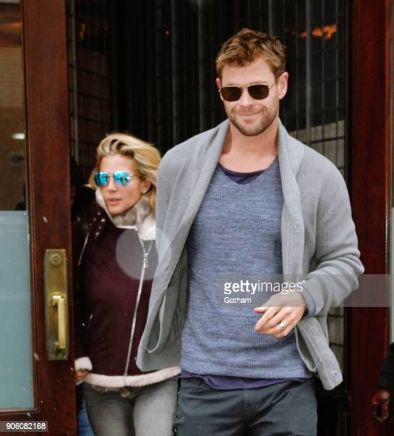Chris Hemsworth and Elsa Pataky check out of their hotel on January 17 2018 in New York City