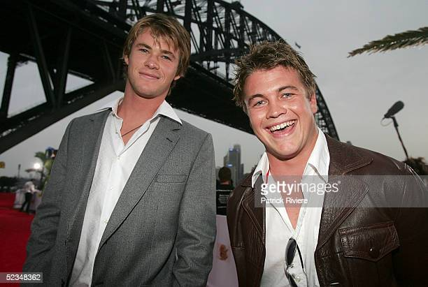 Chris Hemsworth and his brother Luke Hemsworth arrive at the inaugural MTV Australia Video Music Awards at Luna Park on March 3, 2005 in Sydney,...