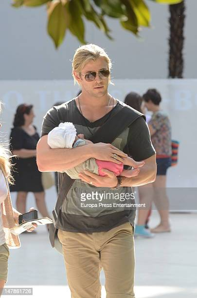 Chris Hemsworth and his daughter India Rose are seen leaving Thyssen Museum on July 4, 2012 in Madrid, Spain.