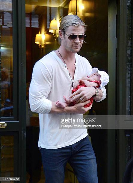 Chris Hemsworth and his daughter India Rose Hemsworth are seen on July 2, 2012 in Madrid, Spain.