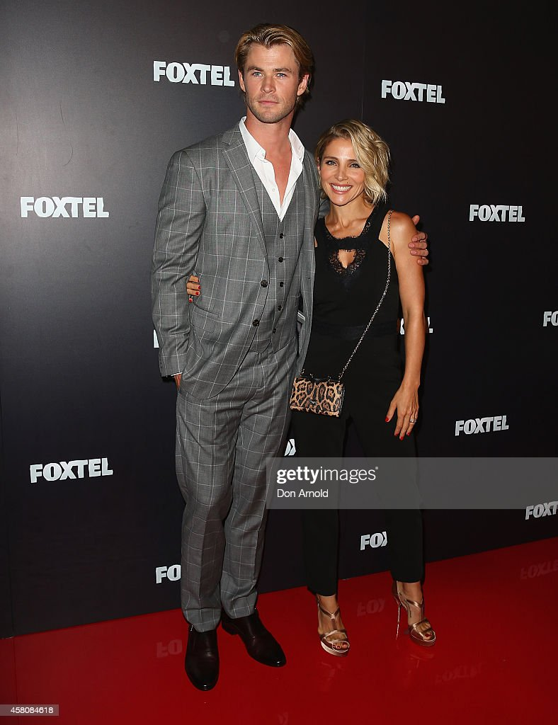Chris Hemsworth and his wife Elsa Pataky attend the Foxtel season launch at Sydney Theatre on October 30, 2014 in Sydney, Australia.