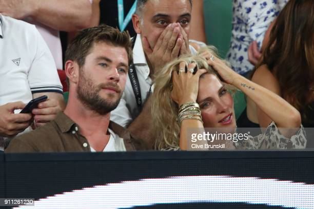 Chris Hemsworth and his wife Elsa Pataky watch the Men's singles final match between Roger Federer of Switzerland and Marin Cilic of Croatia on day...