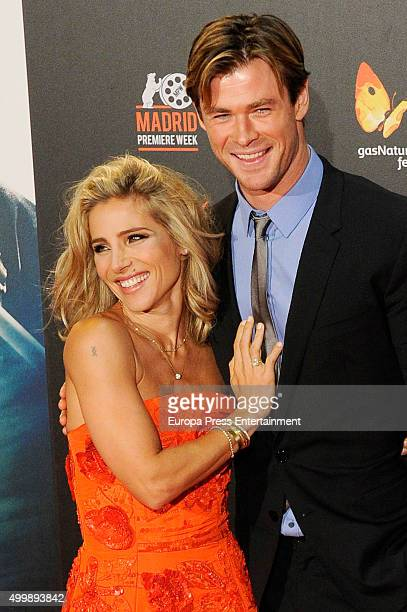Chris Hemsworth and his wife the Spanish actress Elsa Pataky attend 'In The Heart Of The Sea' on December 3 2015 in Madrid Spain