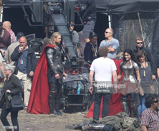 Chris Hemsworth and Jaimie Alexander filming In Surrey for the new Thor movie sequel on September 11, 2012 in London, England.