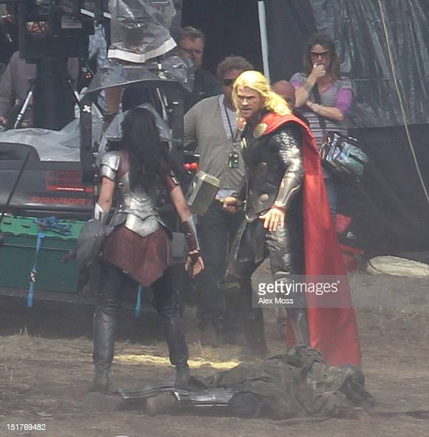 Chris Hemsworth and Jaimie Alexander filming In Surrey for the new Thor movie sequel on September 11 2012 in London England