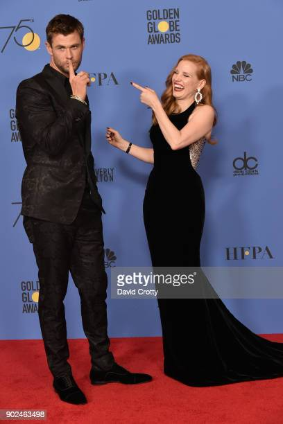 Chris Hemsworth and Jessica Chastain attend the 75th Annual Golden Globe Awards - Press Room at The Beverly Hilton Hotel on January 7, 2018 in...