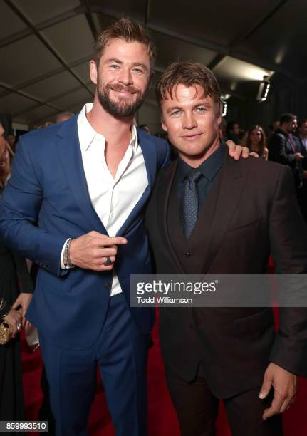 Chris Hemsworth and Luke Hemsworth attend the premiere of Disney And Marvel's 'Thor Ragnarok' on October 10 2017 in Los Angeles California