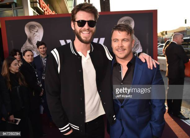 Chris Hemsworth and Luke Hemsworth attends the Los Angeles Season 2 premiere of the HBO Drama Series WESTWORLD at The Cinerama Dome on April 16 2018...