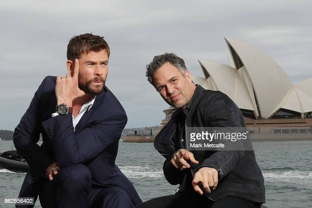 Chris Hemsworth and Mark Ruffalo pose during a photo call for Thor Ragnarok on October 15 2017 in Sydney Australia