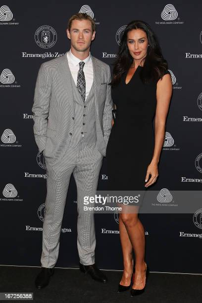 Chris Hemsworth and Megan Gale arrive for the 50th Anniversary Wool Awards at the Royal Hall of Industries Moore Park on April 23 2013 in Sydney...