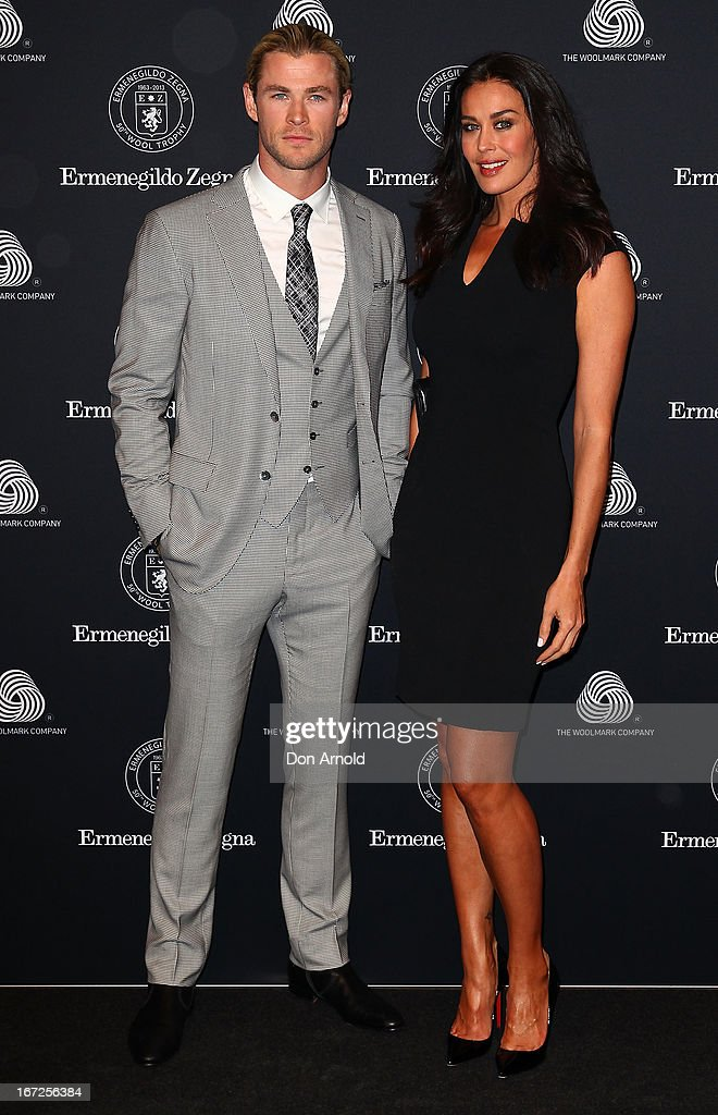 Chris Hemsworth and Megan Gale pose during the 50th Anniversary Wool Awards at Royal Hall of Industries, Moore Park on April 23, 2013 in Sydney, Australia.