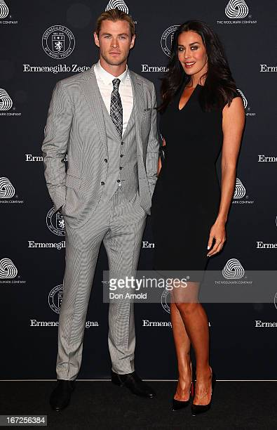 Chris Hemsworth and Megan Gale pose during the 50th Anniversary Wool Awards at Royal Hall of Industries Moore Park on April 23 2013 in Sydney...