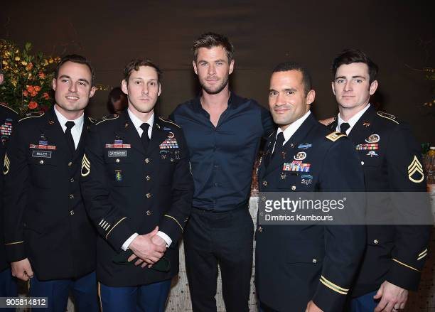 "Chris Hemsworth and members of U.S Special Forces attend The ""12 Strong"" World Premiere after party on January 16, 2018 in New York City."