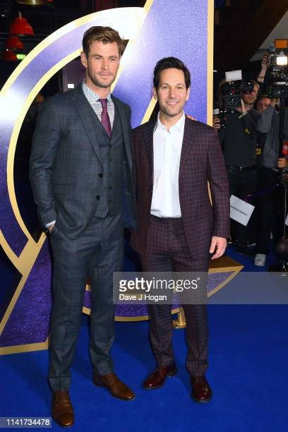 Chris Hemsworth and Paul Rudd attend the 'Avengers Endgame' UK Fan Event at Picturehouse Central on April 10 2019 in London England