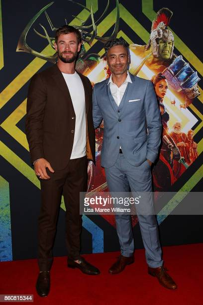 Chris Hemsworth and Taika Waititi arrive for the Australian Premiere of Thor Ragnarok on October 13 2017 in Gold Coast Australia