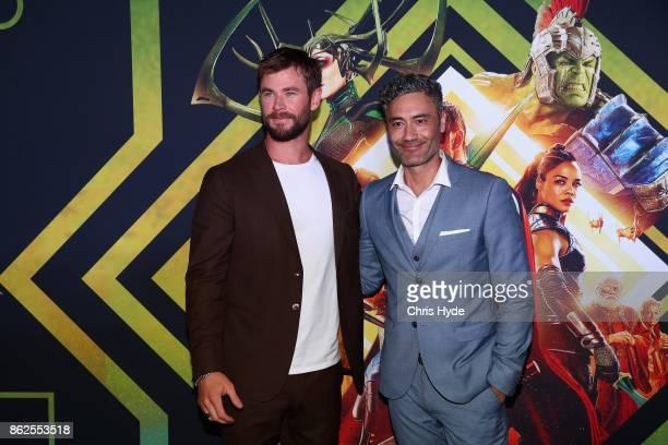 Chris Hemsworth and Taika Waititi arrive for the Thor Ragnarok Australian Premiere at Event Cinemas Robina on October 13 2017 in Gold Coast Australia