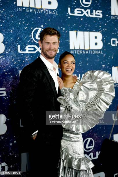 Chris Hemsworth and Tessa Thompson at the World Premiere of Columbia Pictures' MEN IN BLACK™: INTERNATIONAL, sponsored by Lexus, at AMC Lincoln...