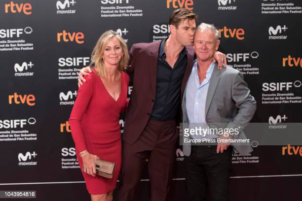 Chris Hemsworth and their parents Craig Hemsworth and Leoni Hemsworth attend the red carpet of the closure gala during 66th San Sebastian Film...