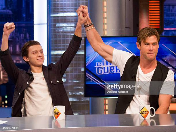 Chris Hemsworth and Tom Holland attend 'El Hormiguero' TV Show on December 3 2015 in Madrid Spain