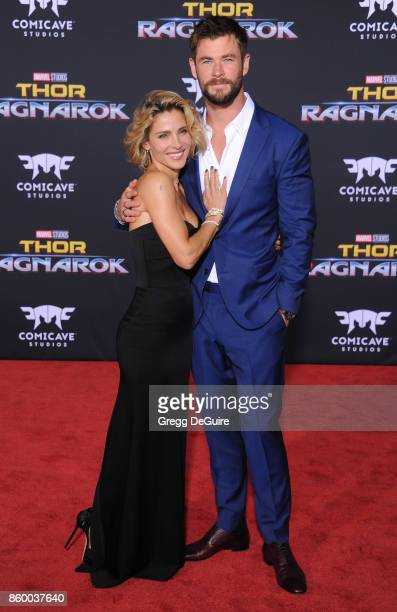 Chris Hemsworth and wife Elsa Pataky arrive at the premiere of Disney and Marvel's Thor Ragnarok at the El Capitan Theatre on October 10 2017 in Los...