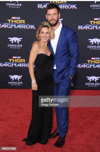 Chris Hemsworth and wife Elsa Pataky arrive at the premiere of Disney and Marvel's 'Thor Ragnarok' at the El Capitan Theatre on October 10 2017 in...