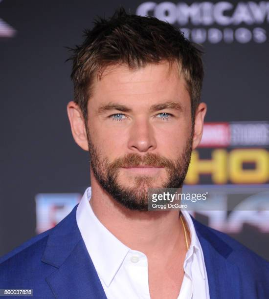 Chris Hemsworth arrives at the premiere of Disney and Marvel's 'Thor Ragnarok' at the El Capitan Theatre on October 10 2017 in Los Angeles California