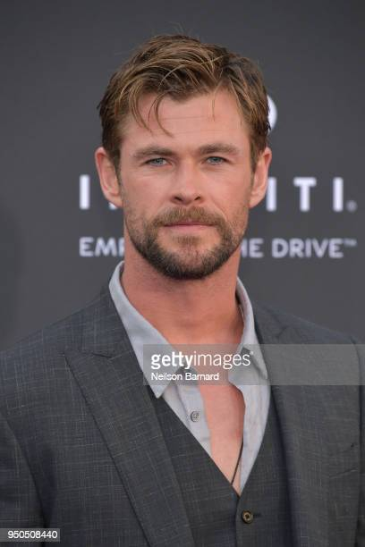 Chris Hemsworth arrives at the Premiere Of Disney And Marvel's 'Avengers Infinity War' on April 23 2018 in Los Angeles California