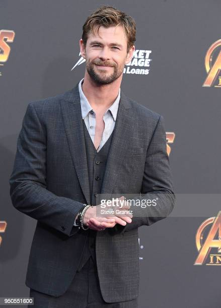 Chris Hemsworth arrives at the Premiere Of Disney And Marvel's Avengers Infinity War on April 23 2018 in Los Angeles California