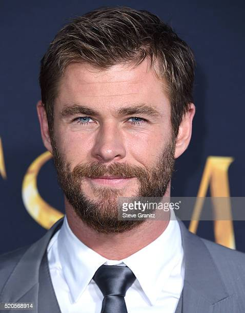 Chris Hemsworth arrives at the Premiere Of Universal Pictures' The Huntsman Winter's War on April 11 2016 in Westwood California