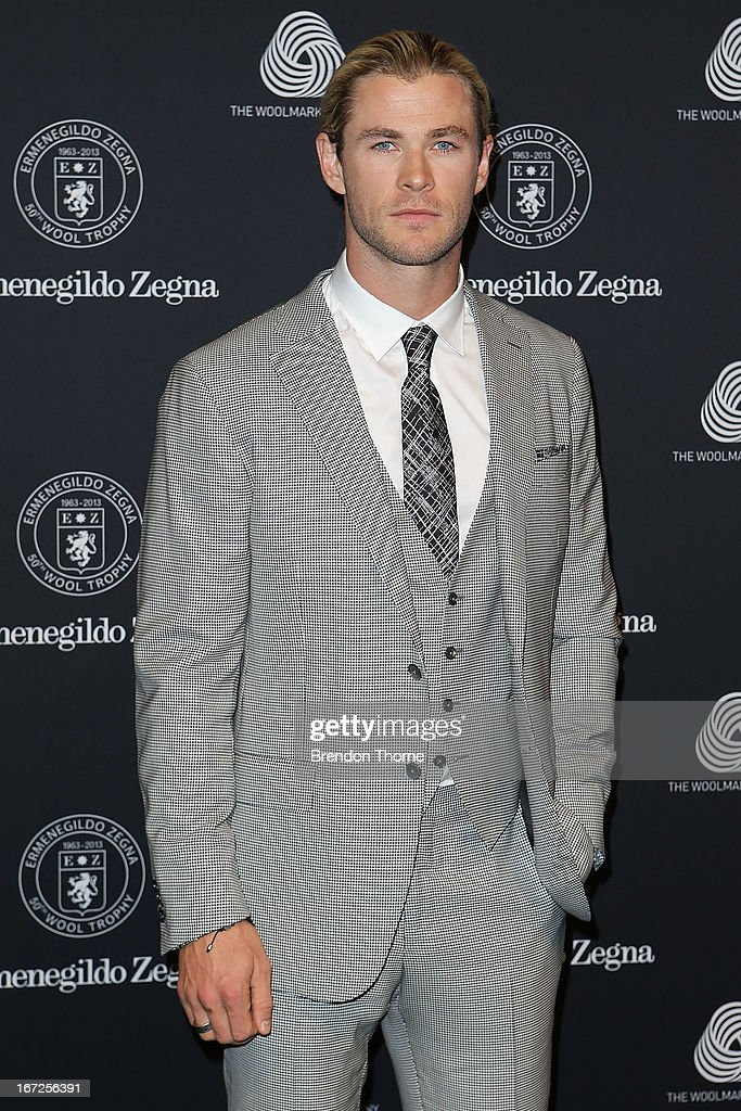 Chris Hemsworth arrives for the 50th Anniversary Wool Awards at the Royal Hall of Industries, Moore Park on April 23, 2013 in Sydney, Australia.