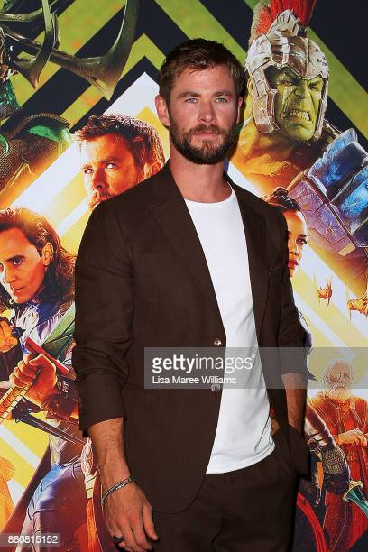 Chris Hemsworth arrives for the Australian Premiere of Thor Ragnarok on October 13 2017 in Gold Coast Australia