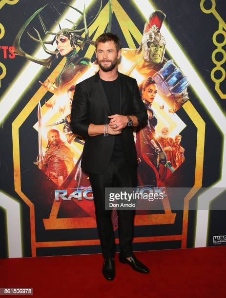Chris Hemsworth arrives for the premiere screening of Thor Ragnarok Sydney at Fox Studios on October 15 2017 in Sydney Australia