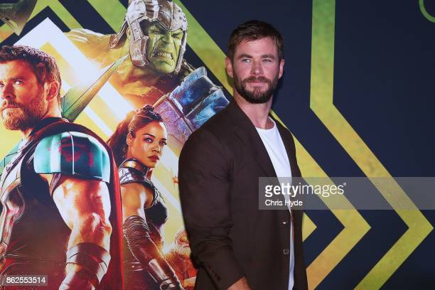 Chris Hemsworth arrives for the Thor Ragnarok Australian Premiere at Event Cinemas Robina on October 13 2017 in Gold Coast Australia
