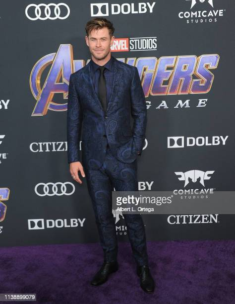 Chris Hemsworth arrives for the World Premiere Of Walt Disney Studios Motion Pictures Avengers Endgame held at Los Angeles Convention Center on April...