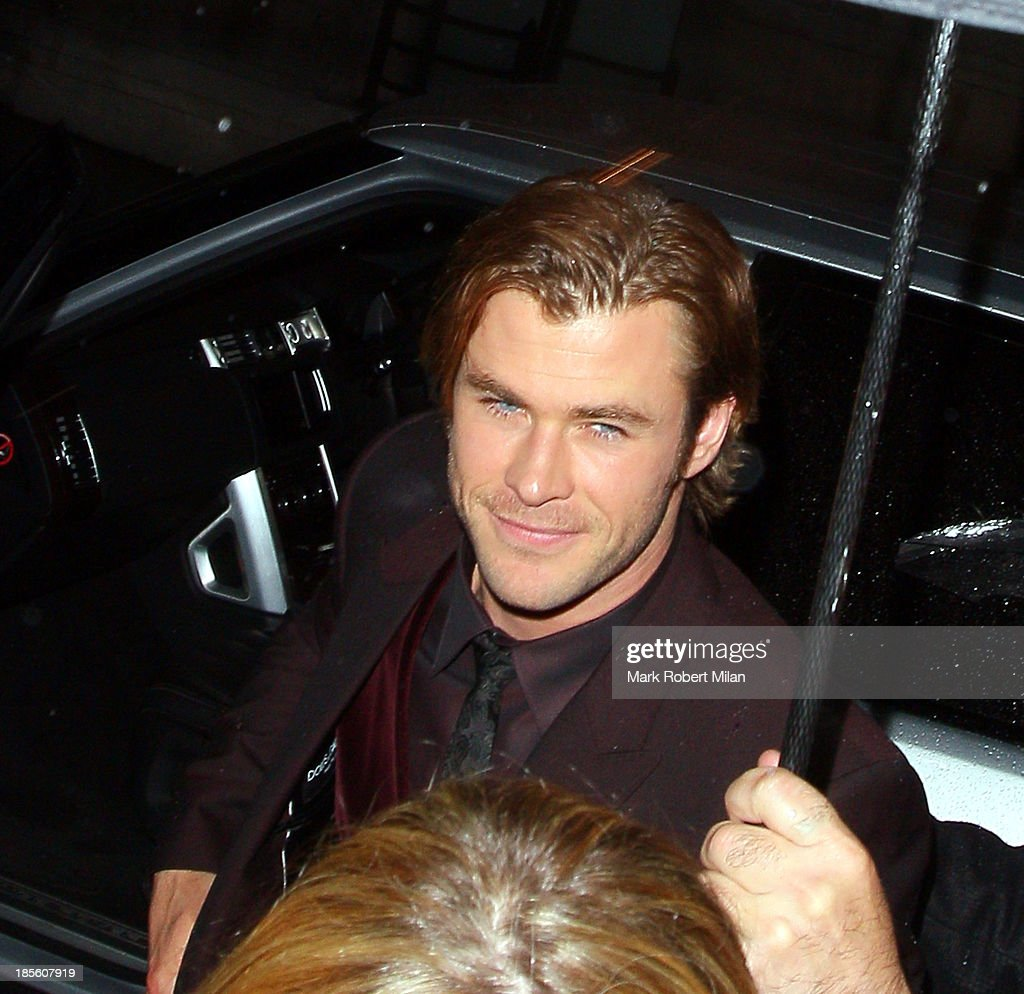 Chris Hemsworth at Sake No Hana restaurant on October 22, 2013 in London, England.