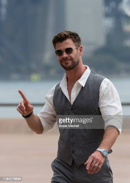 Chris Hemsworth attends a preview of Tourism Australia's latest campaign at Sydney Opera House on October 30 2019 in Sydney Australia
